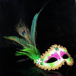 Wholesale Elegant Mardi Gras Masks - Party Masks 50pc halloween 6 Color Half Face Elegant Pheasant peacock Feather Venetian Masquerade mask Mardi Gras mask for ball party #H43