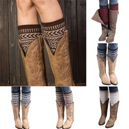 Wholesale Jacquard Knitted Legging - Wholesale- Amazing Hot Striped Patchwork Women's Winter Warm Knitted Leg Warmers Boot Socks Jacquard Knitted