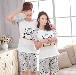 Wholesale Men Panda Suits - Wholesale- New Men Women China Giant Panda printing Round Neck Short sleeve Sleepwear Summer Couple Leisure Pajamas Home Suit