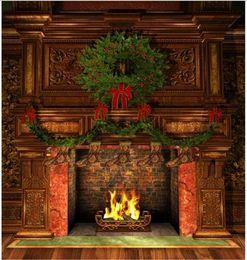 Deutschland Innenkamin-Weihnachtsphotographie-Backdrops-Weinlese-Möbel-Grün-Kiefern-Girlanden-Socken scherzt Foto-Hintergrund-Holz-Boden cheap vintage christmas photo Versorgung