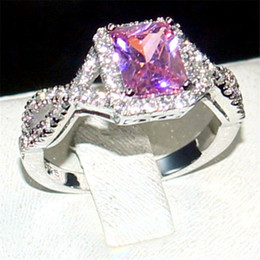 Wholesale Ring Pink Topaz - Eternal 925 Sterling Silver Jewelry Princess-cut 6CT square pink Topaz Diamond gemstone Rings finger Wedding Band Ring for Women size 5-11
