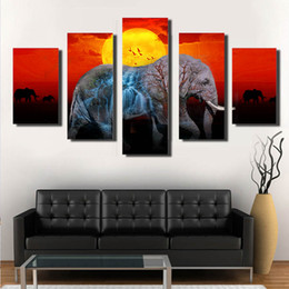 Wholesale Famous Animal Pictures - The elephant in the sunset Spray painting Arts Creative Famous Fashion Spray poster picture canvas home decor