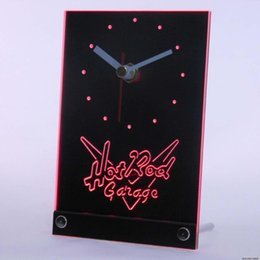 Wholesale Hot Rods Cars - Wholesale-tnc0128 Hot Rod Garage Beer Bar Car 3D LED Table Desk Clock