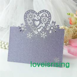 Wholesale Table Decorations Lavender - Hot Sale-50pcs Lavender Color Laser Cut Place Cards Wedding Name Cards For Wedding Party Table Decoration