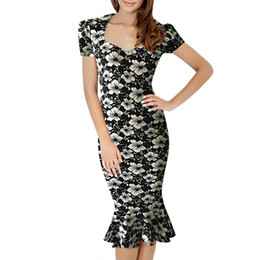 Wholesale Mermaid Mid Length Dress - Womens Elegant Vintage Floral Flower Print Pinup Stretch Casual Party Bodycon Fitted Mermaid Midi Mid-Calf Dress