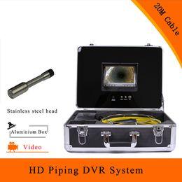 2019 usb endoscope hd (1 juego) Sistema de tubería Cámara de inspección de alcantarillado DVR HD 1100TVL línea Pantalla a color de 7 pulgadas Endoscopio Lente CMOS con cable de 20 m