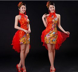 Wholesale Ethnic Sexy Costumes - China style Female stage costumes blue red fashion sexy slim one pieces dress ethnic dance Costume singer dancer show prom party performance