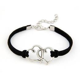 Wholesale Modern Charm Bracelets - Wholesale-Modern 1PC Women Love Heart Handmade Alloy Rope Charm Jewelry Weave Bracelet Gift WSep23