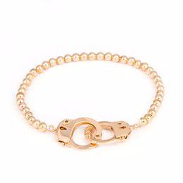 Wholesale Handcuff Rings - Wholesale- New Charm Cuffs Bracelets & Bangles For Men Women Elastic Copper Beads Bracelet Punk Handcuffs Bracelet Man Braccialetto manette