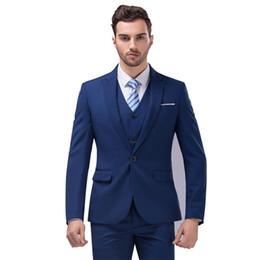 Wholesale Korean Tuxedo Jackets - Wholesale- (Jackets Vest Pants) New Men Korean Suits Slim Fit Tuxedo Brand Fashion Bridegroon Business Dress Wedding white Suits Blazer