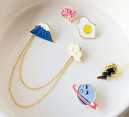 Wholesale Cute Collared Shirts For Girls - Wholesale- Cute Creative Lucky Cat Moon Collar Badge Corsage Cartoon Brooch Pin Up Jewelery For shirt Dress Lovely Women Girl Accessories