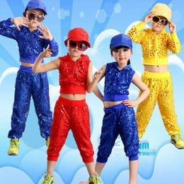 Wholesale Jazz Costumes For Girls - Long Sleeve Girl Boy Jazz Dance Girls Jazz Dance Costumes for Girls Kids Sequin HipHop Dancing Children Performance Jazz For Boys Stage Wear