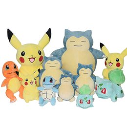 "Wholesale Pokemon Pikachu Plush - 5 Style Poke Doll Pikachu Squirtle Charmander Bulbasaur Snorlax Plush Stuffed Animals Toys ( Size :8"" 20cm) -D034"
