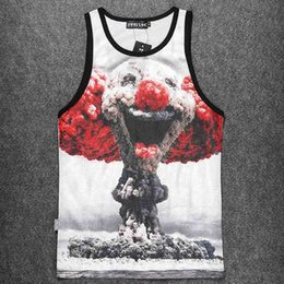 Wholesale Cheap Singlets Men - Wholesale- New Cheap Funny Clown 3d Tank Top Men Canotte Print Bodybuilding Man Singlet Polyester Mesh Fit Vests Sleeveless Breathable