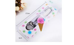 """Wholesale Wholesale Ice Cream Packaging - The ceramic handle love heart shape ice cream spoon The """"scoop of love"""" wedding supplies Gift box packaging"""