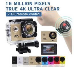 """Wholesale Yellow Camera Case - 2016 Sale 4k 30fps Sports Action Camera F60R Wifi with Remote Waterproof Case 2"""" Lcd Hd 1080p Video Extreme Underwater Sport Cam Helmet"""