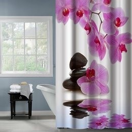 Wholesale Phalaenopsis Fabric Flowers - Fabric Polyester Phalaenopsis Flower With Stone Waterproof Shower Curtains Thicken fabric Bathroom Shower Curtains Size 180x180cm