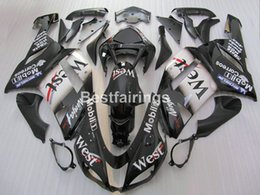 Wholesale West Motorcycle Body Kit - Aftermarket body parts fairing kit for Kawasaki Ninja ZX6R 2007 2008 west sticker black motorcycle fairings set ZX6R 07 08 MA10