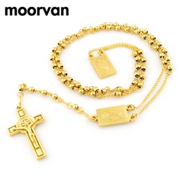Wholesale 14k Gold Beads 4mm - Moorvan 4mm,66cm long gold color men rosary bead necklace Stainless steel Religion of Jesus ,women cross jewelry, 2 colors