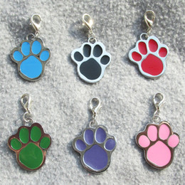 Wholesale Zinc Tags Wholesale - 100pcs lot Paw design Zinc Alloy Dog ID Tags Blank Pet Dog Hang pendants diamond engravable