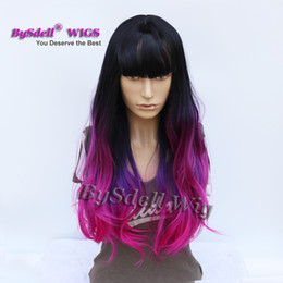 Wholesale Wavy Wigs Bangs - Fashion Color Painted Hair Wig Synthetic Black Ombre Purple Rose-carmine Color Wig Air Bang Long Wavy Hair Party Show Capless Wigs