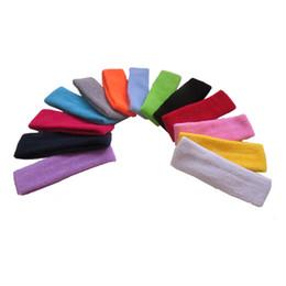 Wholesale Sports Cotton Sweatbands - Wholesale- Wholesale High Quality Cotton Sports Sweat Headbands For Men Women Tennis Badminton Yoga Gym Basketball Hair Bands Sweatband
