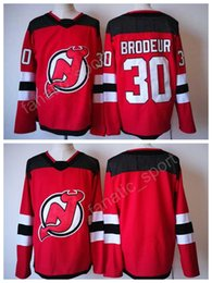 Wholesale New Style Fan - 2017-18 New Style 30 Martin Brodeur Jersey Team Color Red New Jersey Devils Ice Hockey Jerseys All Stitched For Sport Fans High Quality