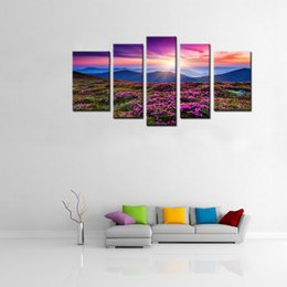 Wholesale Red Azaleas - 5 Panels Wall Art Painting Red Azaleas all over the Mountains Picture Print on Canvas with Wooden Framed Home Modern Decor Ready to Hang