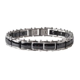 Wholesale Ceramic Magnetic Bracelets Black - Argositment Fashion Jewelry Healing Magnetic Titanium Bio Energy Bracelet For Men Blood Pressure Accessory