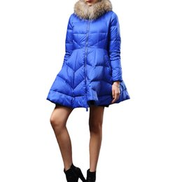 Wholesale Coats Skirt Fur Collars - JSEO Women Down Packable Jacket Elegant A-Line Coat Down Parka Thickened Thermal Warm Puffer Jackets with Fur Collar