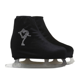 Wholesale Adults Ice Skates - Wholesale- 24 Colors Child Adult Velvet Ice Figure Skating Shoes Cover Roller Skate Fabric Accessories Black White Skator Rhinestone