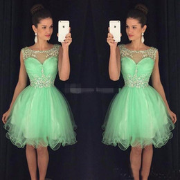 Wholesale Red Sequin Cocktail Dresses - 2017 Mini Short Homecoming Dresses Crystal Beaded Sweet 16 Graduation Dresses Little Chiffon Short Cocktail Dress Prom Party Dresses