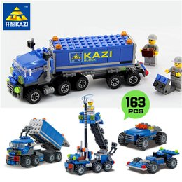 Wholesale Kazi Educational Kids Building Blocks - KAZI 163pcs Transport Dumper Truck Model Building Blocks Toy Sets ABS Assembled Blocks Educational Toys for Children Kids Gifts