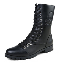 Wholesale Gothic Heels - Retro Combat Boots 2017 Spring British Style Leather Military Boots Gothic Charm Low Heels Men Motorcycle Boots D30