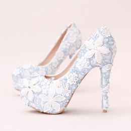 Wholesale White Faux Leather Dresses - 2016 Blue Lace Flowers Pearl Wedding Shoes Handmade White Diamond Flowers Bride Dress Shoes High Heels Pumps