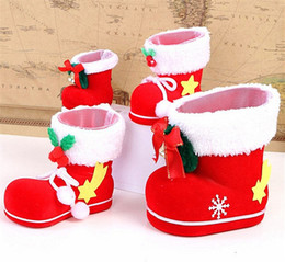 Wholesale Shoe Trees For Boots - Christmas Boots Candy Box Christmas Tree Decoration Hanging Xmas Bag for Kids Children Party Bags Boys Girls Santa Boot Shoes Stocking
