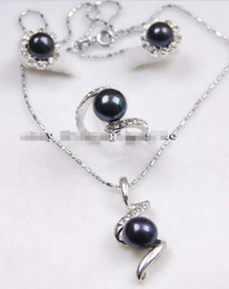 Wholesale Akoya Ring - free shipping >Genuine Black Akoya Cultured pearl Earrings  Ring   Necklace Pendant Set AAA