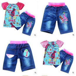 Wholesale Jean Suits Wholesale - Kids Clothing 2017 Summer Girls Trolls Tops And Jean Pants Bottoms Clothing Suit For Girls Wear Costumes Girls Clothes