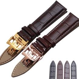 Wholesale Crocodile Watchband - Watchbands Itlian COWHIDE leather watch bands straps 20mm 21mm 22mm watch accessories black brown crocodile grain new bracelets freeshipping