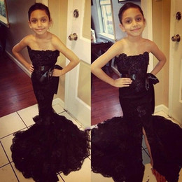 Wholesale Strapless Kids Wedding Dresses - Black Lace Strapless Girls Pageant Dresses With Ribbon Sashes Mermaid Front Split Flower Girl Dresses For Wedding African Kids Formal Wear