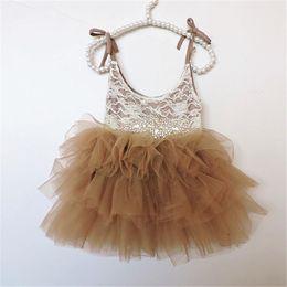 Wholesale Princess Ball Gown Dress Cake - Girls Flower Dress fashion Kids Clothing 2017 Summer lace rhinestone bows belt Dress girls Sleeveless Princess Cake Dress T3195