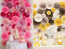 Wholesale Hanging Paper Flower Decorations - 6 piece set 3 Different Size Tissue Paper Fans Flower Party Wedding Birthday Hanging Decoration Shower Crafts Party Wedding Supplies