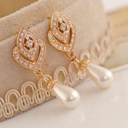 Wholesale Purple Black Pearl Earrings - Smart Clear Austrian Crystals Pearl Earring Bridal Wedding Dangle Drop White Pink Purple Black Pearls Earrings Platinum Plate