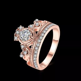 Wholesale Pandora Royal - Authentic 925 Sterling Silver Ring Rose Gold Princess Tiara Royal Crown With Crystal Rings Compatible With Pandora DIY Jewelry