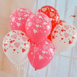 Wholesale Balloon Heart Latex Wedding - 12 inches 3.2g thick Printed full heart balloon High quality wedding marry Valentine balloons decoration party supplies 12B016