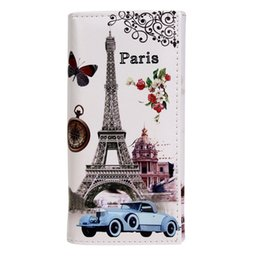 Wholesale paris clutch - Wholesale- Hot Sale Fashion Women Long Wallet Smooth PU leather Paris Flags Eiffel Tower Style Lady Coin Purses Clutch Wallets Money Bags