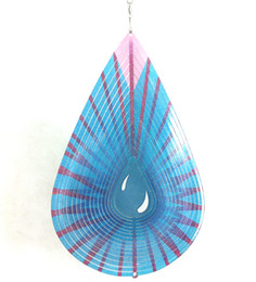 Wholesale Wind Spinners Stainless Steel - Multicolor Water Drop Stainless Steel Wind Spinner for Home Garden Indoor Outdoor Epoxy Coating W  Sparkle Powder Laser Cut Never Rust 6inch