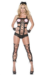 Wholesale Cosplay Costumes Fetish - Catwoman Catsuit Fishnet Bra Women Sexy Bodysuit Hollow Out Cosplay Costume Patchwork Lace Up Leotard Fetish Teddies