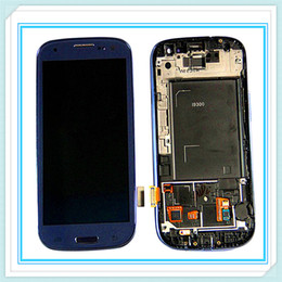 Wholesale Galaxy S3 Screen Digitizer Bluer - With Frame Original LCD Display For Samsung Galaxy S3 SIII i9300 i9305 i747 i535 LCD Touch Screen Glass Digitizer Assembly Blue White