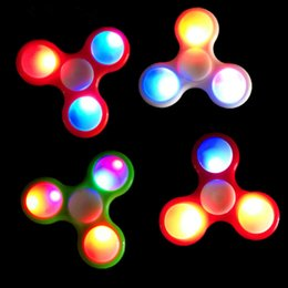 Wholesale Focus For Adults - LED Light Tri-Spinner Fidget Toy Plastic EDC Hand Spinner For Autism and ADHD Anxiety Stress Relief Focus Toys Adult Kids Gift